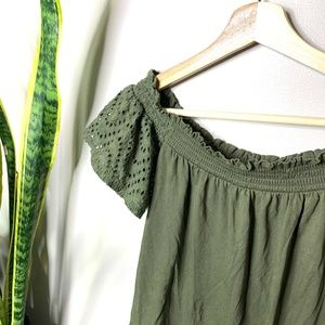 Express Tops - • EXPRESS ONE ELEVEN • green off the shoulder top